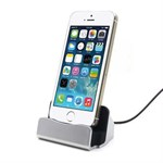 Docking station til iPhone 5/6 - silver/sort
