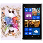 Design Cover til Lumia 925 - Colorful Butterfly (Hvid)